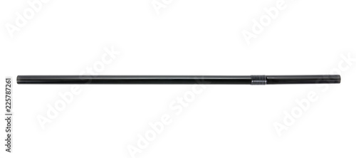Horizontal black plastic drinking straw isolated on white background.