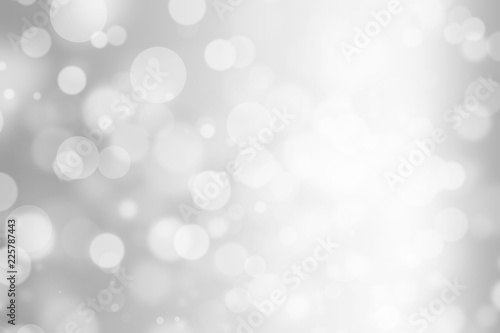 Fototapety, obrazy: silver bokeh beautiful blurred glitter light on abstract background. grey wallpaper. holiday decorative concept. element for decorative design or advertising. defocused