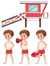 Set Of Lifeguard On White Background