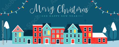 Foto auf AluDibond Blau türkis Christmas holiday night city winter greeting card