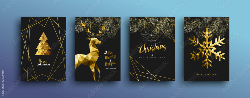 Fototapety, obrazy: Christmas luxury gold greeting card collection