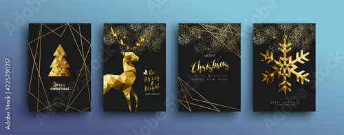Valokuva  Christmas luxury gold greeting card collection