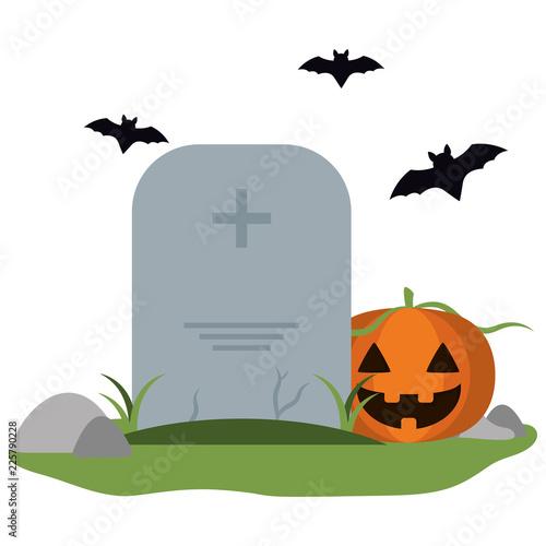 Fényképezés Tombstone and pumpkin with bats