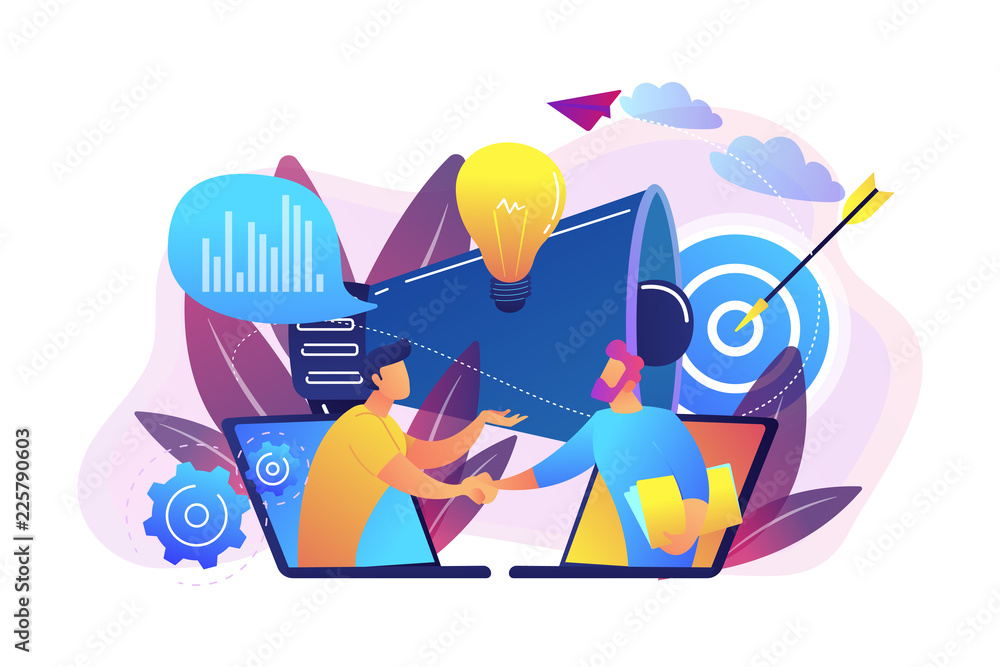 Fototapety, obrazy: Businessmen handshake from laptops and megaphone. Collaboration and communication, corporate and cooperative business concept on white background. Bright vibrant violet vector isolated illustration