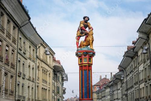 Autocollant pour porte Fontaine Statue Samson Fountain, Bern, Switzerland