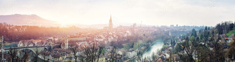 Fototapety, obrazy: Beautiful panoramic view of the Old Town of Bern in Switzerland