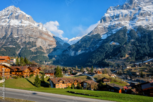 Panoramic view of Grindelwald beautiful village in mountain scenery, Switzerland