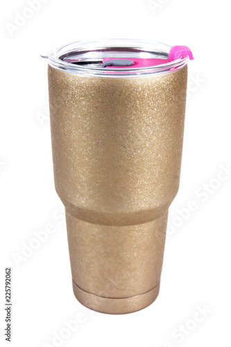 Steel mug with plastic cover isolated on white background.Insulation mug isolated