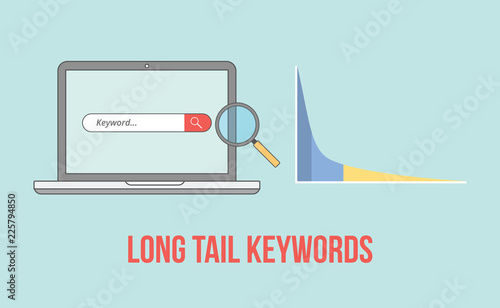 фотография  long tail keywords with laptop and graph chart illustration