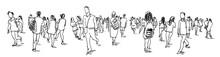 Crowd Of People Walking Ink Sk...