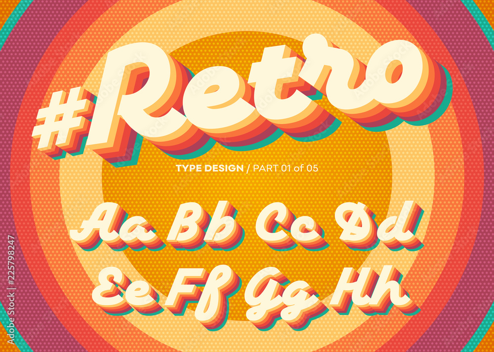Fototapeta Vector Retro Alphabet Design. Vintage 3D Typeface with Colorful Rainbow Layers. Decorative Letters in 70s Style. Funky Typeset for Poster or Banner. Trendy Classic Cursive on Retro Circle Background.
