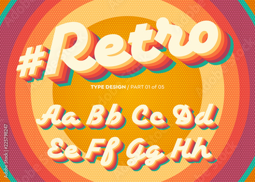Fototapeta Vector Retro Alphabet Design. Vintage 3D Typeface with Colorful Rainbow Layers. Decorative Letters in 70s Style. Funky Typeset for Poster or Banner. Trendy Classic Cursive on Retro Circle Background. obraz