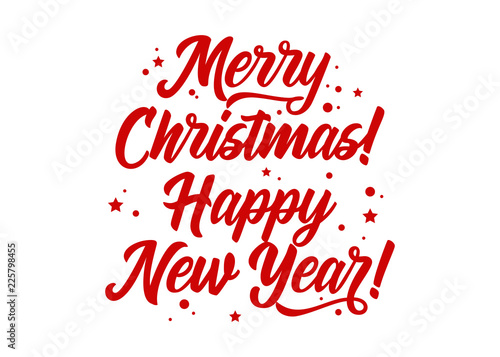 merry christmas happy new year vector holiday template festive background calligraphy greeting card isolated red text for xmas banner postcard event invitation poster hand drawn lettering buy this stock vector and vector holiday template festive