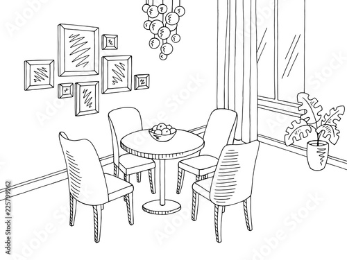 Photo sur Toile Drawn Street cafe Dining room graphic black white sketch home interior illustration vector