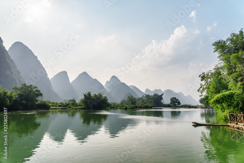 Scenic view of the Yulong River and karst mountains, Yangshuo