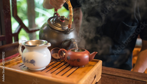 Fotografia Chinese tea ceremony at tea house in Taichung, Taiwan 台中の茶藝館