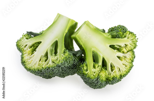 Broccoli slices isolated on white background