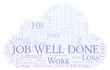 Job Well Done word cloud.