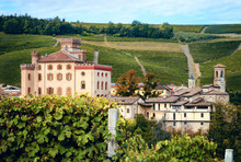 Panorama Of Barolo (Piedmont, Italy) With The Town, The Medieval Castle And The Vineyards. Barolo Is The Main Village Of The Langhe Wine District