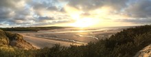 Panorama Cornwall Hayle Beach Sunset Over Sea