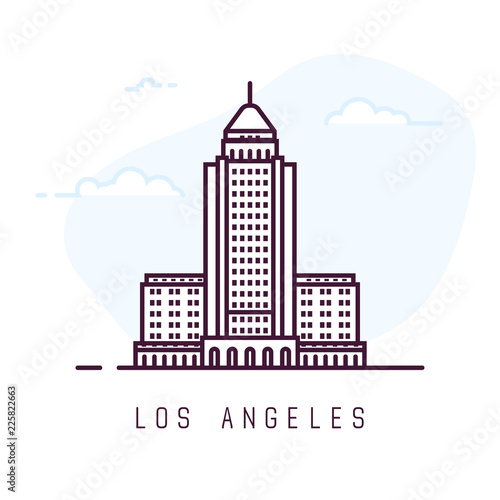 Los Angeles city line style illustration Fototapet