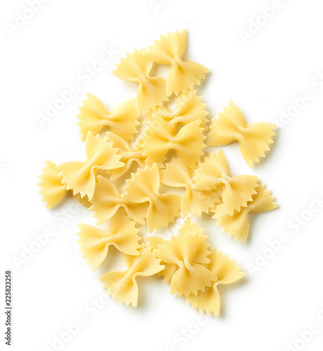 fresh pasta bows on white background