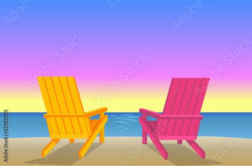 Valokuva Sunbed on Beach Pair of Chaise-Lounges Coastline