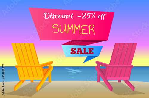 Discount -25 Off Summer Sale Poster with Sunbeds Fototapet