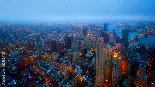 Fototapeten New York New York City, night view from above. Manhattan Business District,