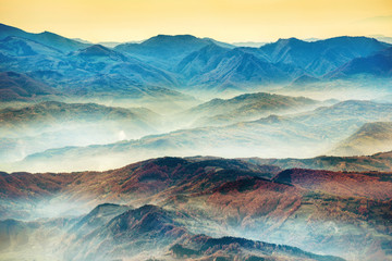 FototapetaBeautiful blue mountains and hills at sunset time