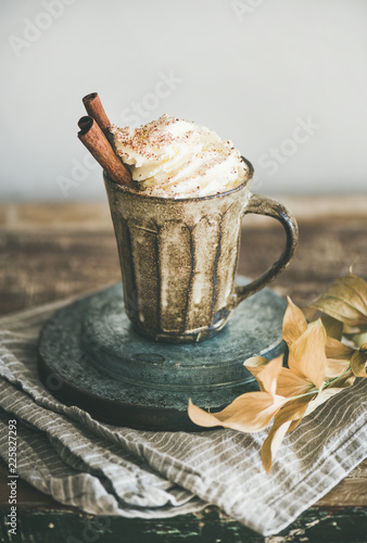Autumn or Winter hot chocolate or coffee with whipped cream and cinnamon in rustic mug, white background behind, selective focus. Fall warming sweet drink