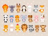 Fototapeta Fototapety na ścianę do pokoju dziecięcego - Big vector set with cute animals. Illustration in a cartoon style.