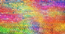 Color Brick Wall, Multi-colored Masonry. Rainbow Background