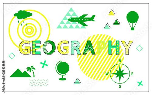 Fotografia  Geography Poster and Headline Vector Illustration