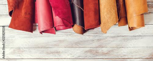 Fotografía Rolls of natural color leather