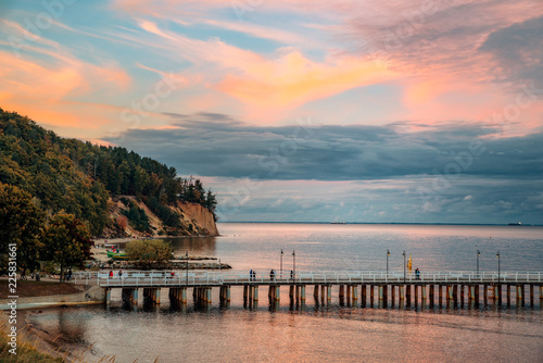 A view of the cliff in Gdynia Orłowo in the evening
