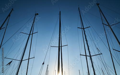 Obraz na plátně  Sailboat poles at marina