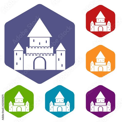 Fotografia Chillon Castle, Switzerland icons set rhombus in different colors isolated on wh