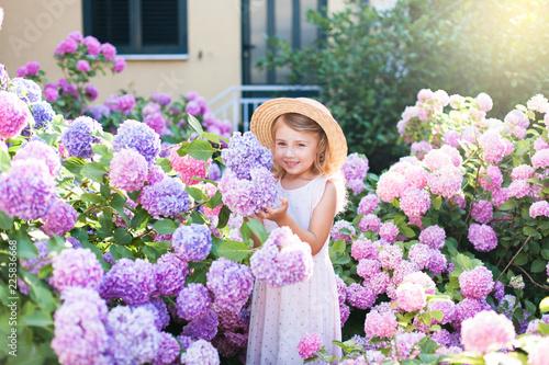 Cuadros en Lienzo Little girl isin bushes of hydrangea flowers in sunset garden