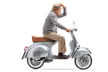 Gentleman Riding A Vintage Mot...