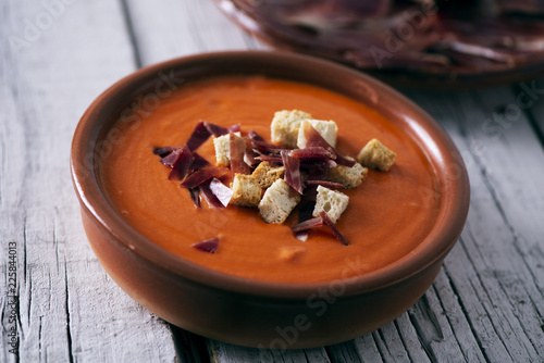 spanish slamorejo or porra, a cold tomato soup