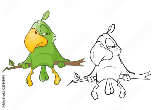 Poster Babykamer Illustration of a Cute Green Parrot. Cartoon Character. Outline