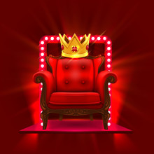 Chair King Casino Podium Art. Vector Illustration
