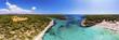 canvas print picture Luftaufnahme, Bucht cala Mondragó und Playa Mondragó, , Gemeinde Santanyi,  , Region von Porto Petro, Mallorca, Balearen, Spanien