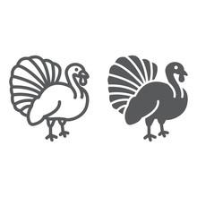 Turkey Bird Line And Glyph Ico...