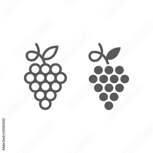 Canvas-taulu Grapes line and glyph icon, fruit and plant, wine sign, vector graphics, a linear pattern on a white background