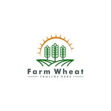 Wheat Farm Logo, Agriculture Icon Symbol Vector Illustration