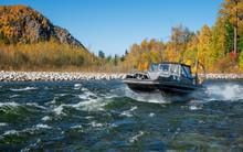 Aerial Hovercraft On The River Snezhnaya