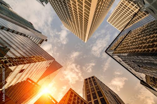 Papiers peints Hong-Kong Sunset on Hong Kong skyscraper skyline