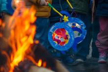 Sankt Martin Day, Bonfire And Children With Lantern Defocused